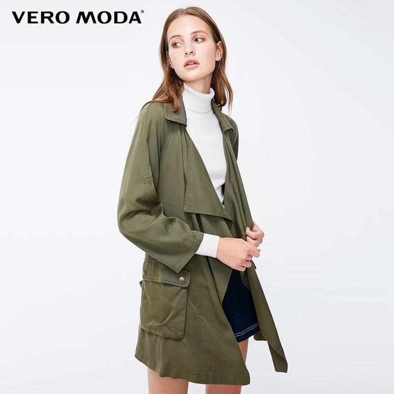 Vero Moda Women's Decorative Pocket Loose Fit Lapel   Trench   Coat | 318317505