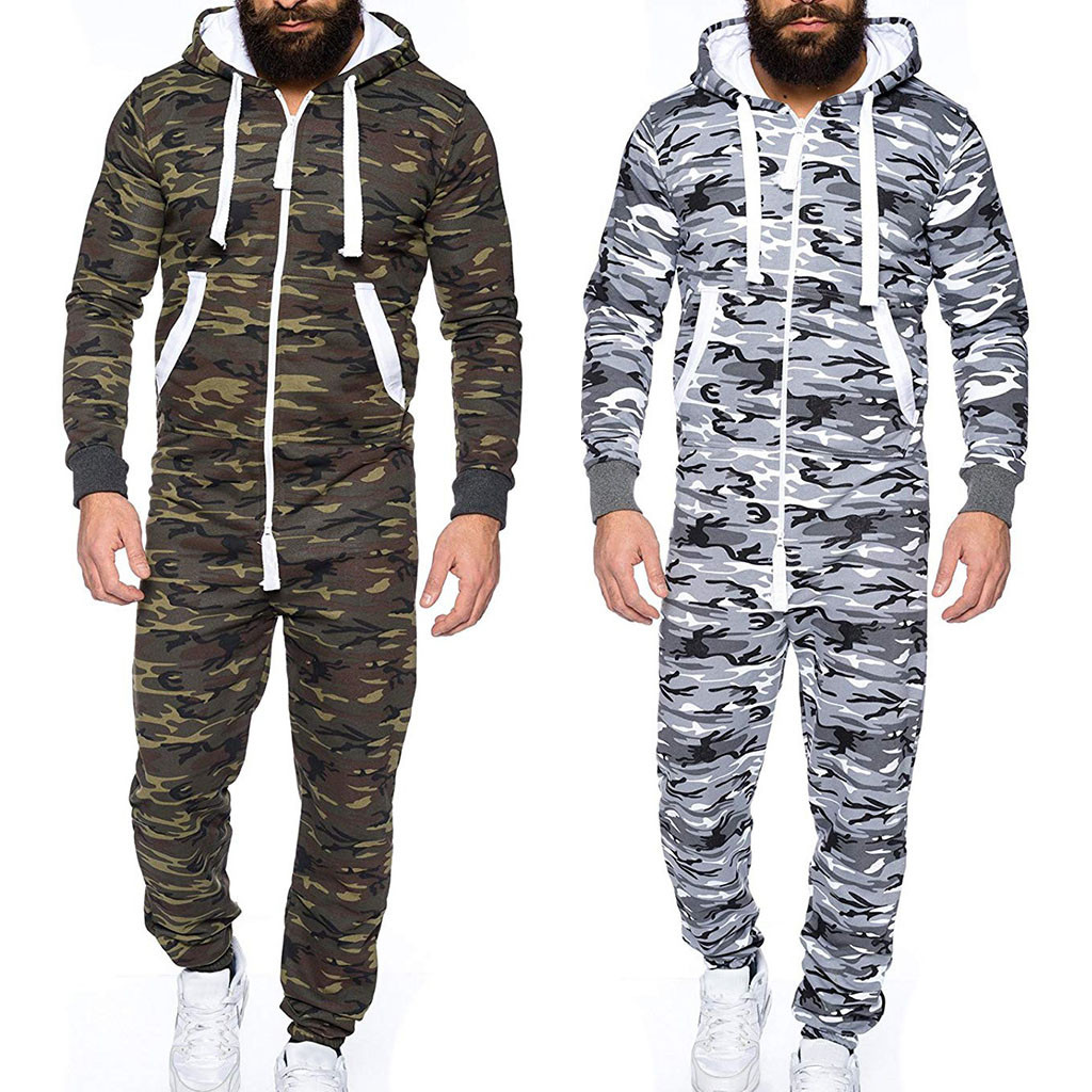 Men Women Camouflage Stripe Stitching Sweatshirt Long Sexy Playsuit Sporting Jumpsuit Footed One-piece Pajama Hoodie Warm Set D