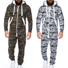 Men women Camouflage stripe stitching Sweatshirt long sexy Playsuit Sporting Jumpsuit Footed One-piece Pajama Hoodie Warm set D(China)