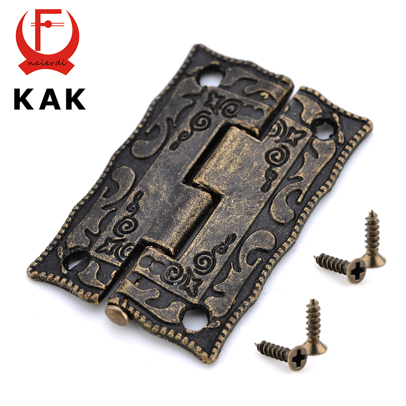 2pcs kak antique bronze hinges cabinet door drawer decorative mini hinge for jewelry storage wooden box - Decorative Hinges