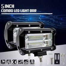 Car-Sytling 5 inch 72W Work Light Bar 12V 6000K 4300K White Yellow Fog Light Day Running Car LED Lamp Bulb for Moto Headlight
