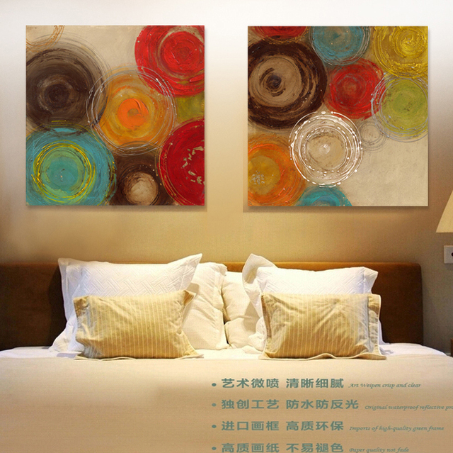 2015 Colored Circles Modern Abstract Painting Decorative Artist Canvas Wall  Art Pictures Paint For Home Office
