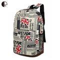 New Arrival Fashion Women Vintage US UK Flag Newspaper Map School Backpack Bookbag Travel Sports Shoulder Bag School Bag BP009