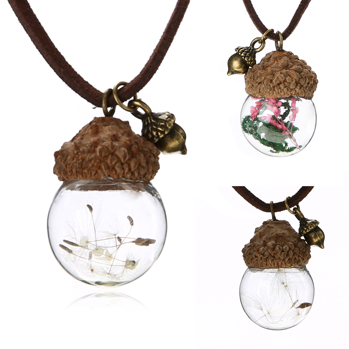 Fashion Wing Glass Ball Dandelion Seeds Pendant Necklace Women Men Charm Jewelry
