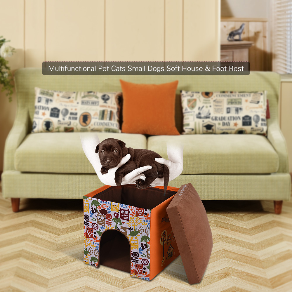 Brilliant Us 79 51 46 Off 2 In 1 Foldable Washable Warm Pet Cats Small Dogs Soft House Bed Nest Living Room Foot Rest Cushioned Stool Soft Cat Dog House In Andrewgaddart Wooden Chair Designs For Living Room Andrewgaddartcom