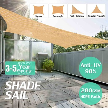 300D 4x2m/3x2m Waterproof Polyester Rectangle Awning Sun shading net Sun Shade Sail Outdoor Sun Shelter  Black Grey color