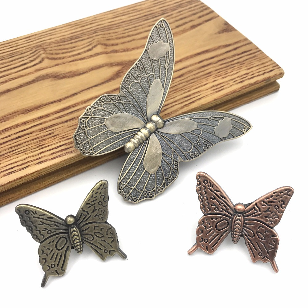 1x Retro Butterfly Shape Zinc alloy Drawer Cabinet Handle Furniture Knob Handware Antique bronze Cupboard Wardrobe pull knobs