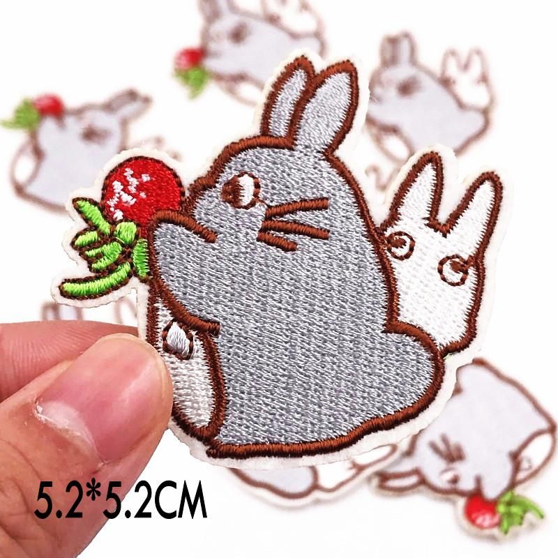 10Pcs Totoro Harajuku Patches cartoon stickers Clothing bags Badges Parches Bordados Iron on Embroidered DIY clothes Applique