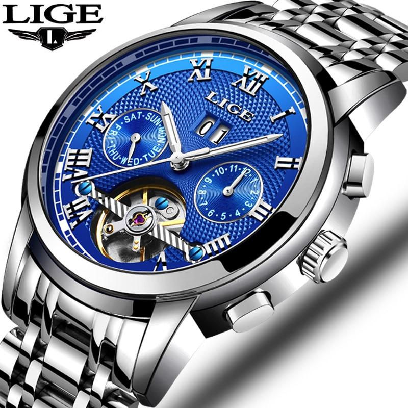 New LIGE Mens Watches Brand Top Brand Business Automatic Mechanical Watch Men's Waterproof Luminous Watch Relogio Masculino+Box все цены