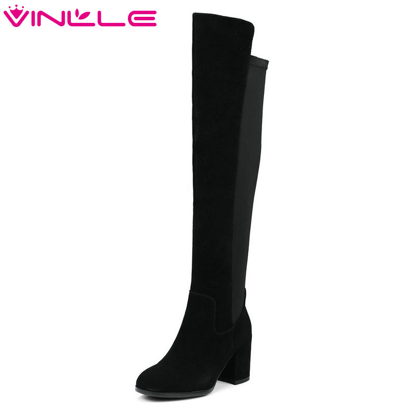 VINLLE 2018 Women Boots Over The Knee Boots Square High Heel Zipper Cow Suede Slim Legs Ladies Motorcycle Shoes Size 34-39 for toyota corolla fielder corolla axio 2007 corolla 2010 led drl fog lights lamp clear lens pair with wiring kit fog light set