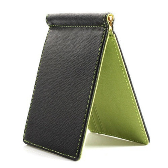Faux Leather Slim Mens Credit Card Wallet Money Clip Contract Color Simple Design Brand New Men Bifold Wallets Green