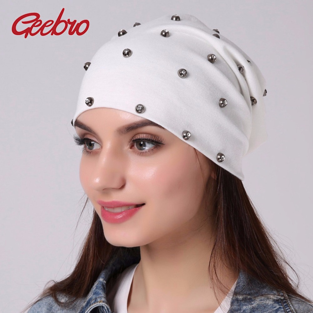 Geebro Women's Silver Rhinestones Beanies Hat Spring Casual Cotton Knit Beanie For Women Plaid Thin Hat For Men Skullies Cap