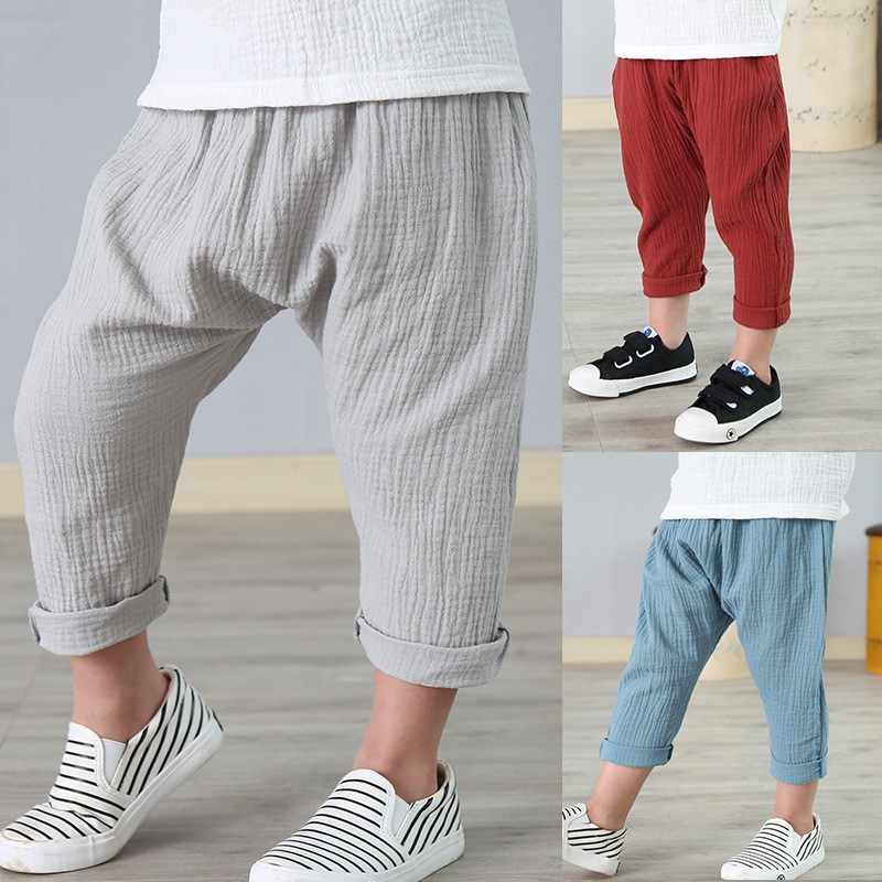 linen pleated kids pants hot 2018 summer girls boys pants children ankle-length pants harem pants baby boy girl clothes 2-7 yrs self tie waist frill trim pleated pants