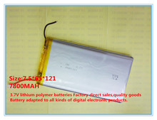 3.7V 7800mah 7565121 Lithium Polymer Li-Po Rechargeable Battery For PAD DIY E-Book GPS PSP DVD Power bank Tablet PC