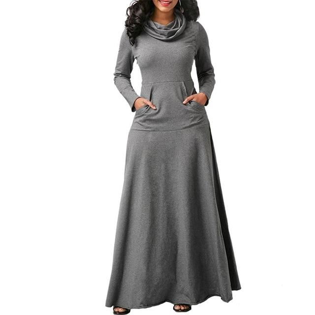 Women Long Sleeve Dress Large Size Elegant Long Maxi Dress Autumn Warm Turtleneck Woman Clothing With Pocket Plus Size Bigsweety 3