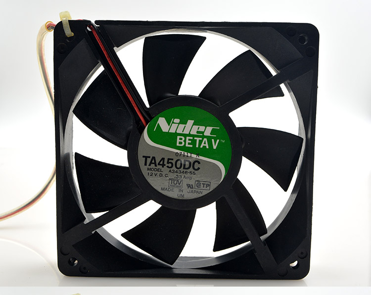 Nidec New TA450DC A34346-55 ball chassis 1*1*25mm 12CM 125 12V 0.33A power supply fan