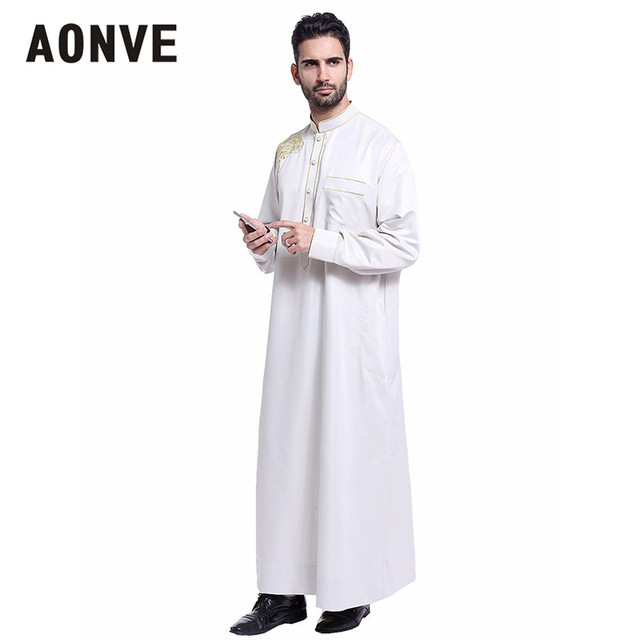 e7079f1770 Aonve Men Muslim Kaftan Stand Collar Charming Abaya Long Sleeve Formal  Prayer Clothing Eid Homme Arab Islamic Thobe Plus Size