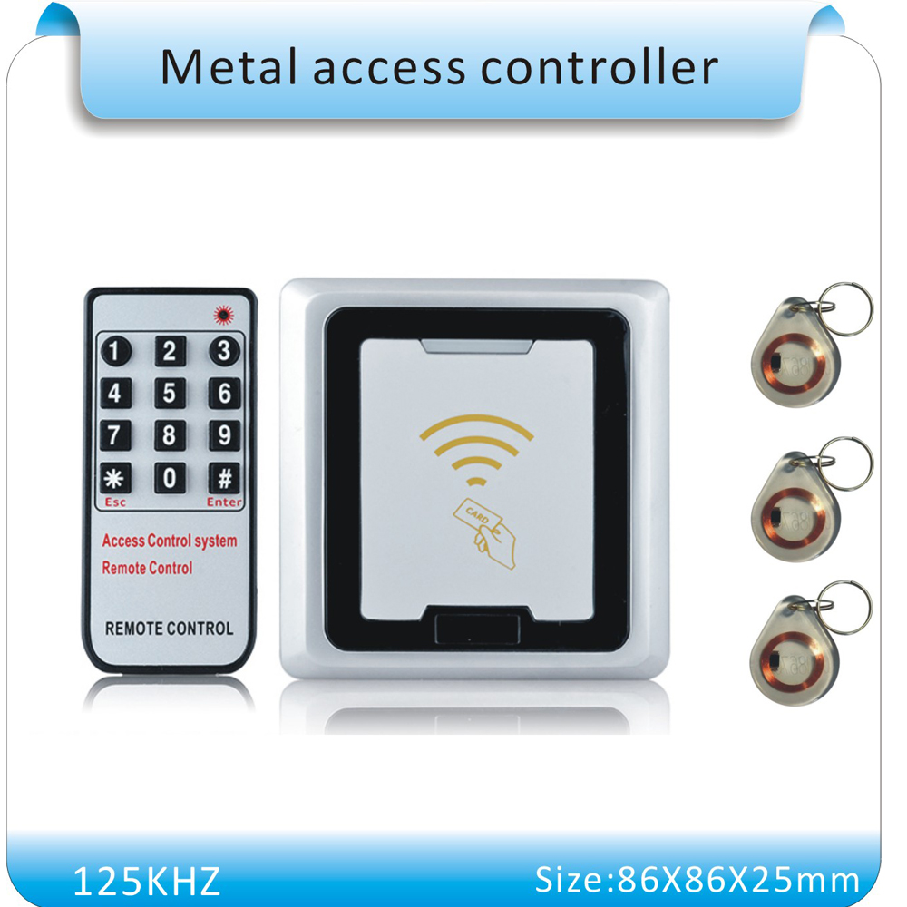 Free shipping 86X86mm metal shell rfid lock system door Support 500  users  RFID Card Door Access Controller+5 crystal keyfob metal shell touch keyboard 125khz rfid access control system entrance guard password and rfid 10pcs crystal keyfob