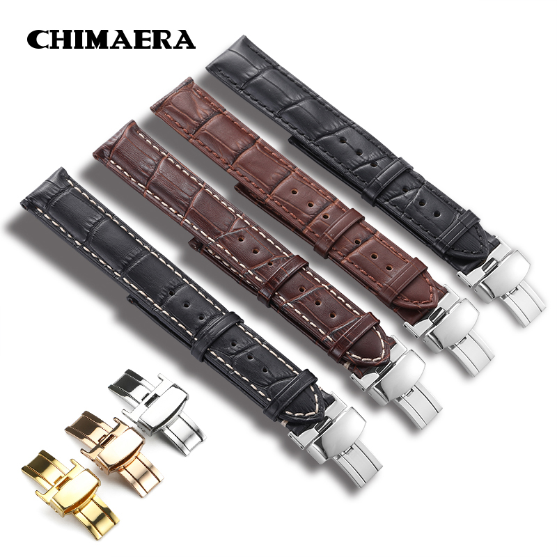 CHIMAERA Calf Leather Watch Bands Strap Stainless Steel Butterfly Clasp 14mm 16mm 18mm 19mm 20m 21mm 22mm 24mm Watchband new fashion curved ends 14mm 15 16mm 17mm 18mm 19mm 20mm 21mm 22mm 23mm stainless steel watch bands straps bracelets promotion