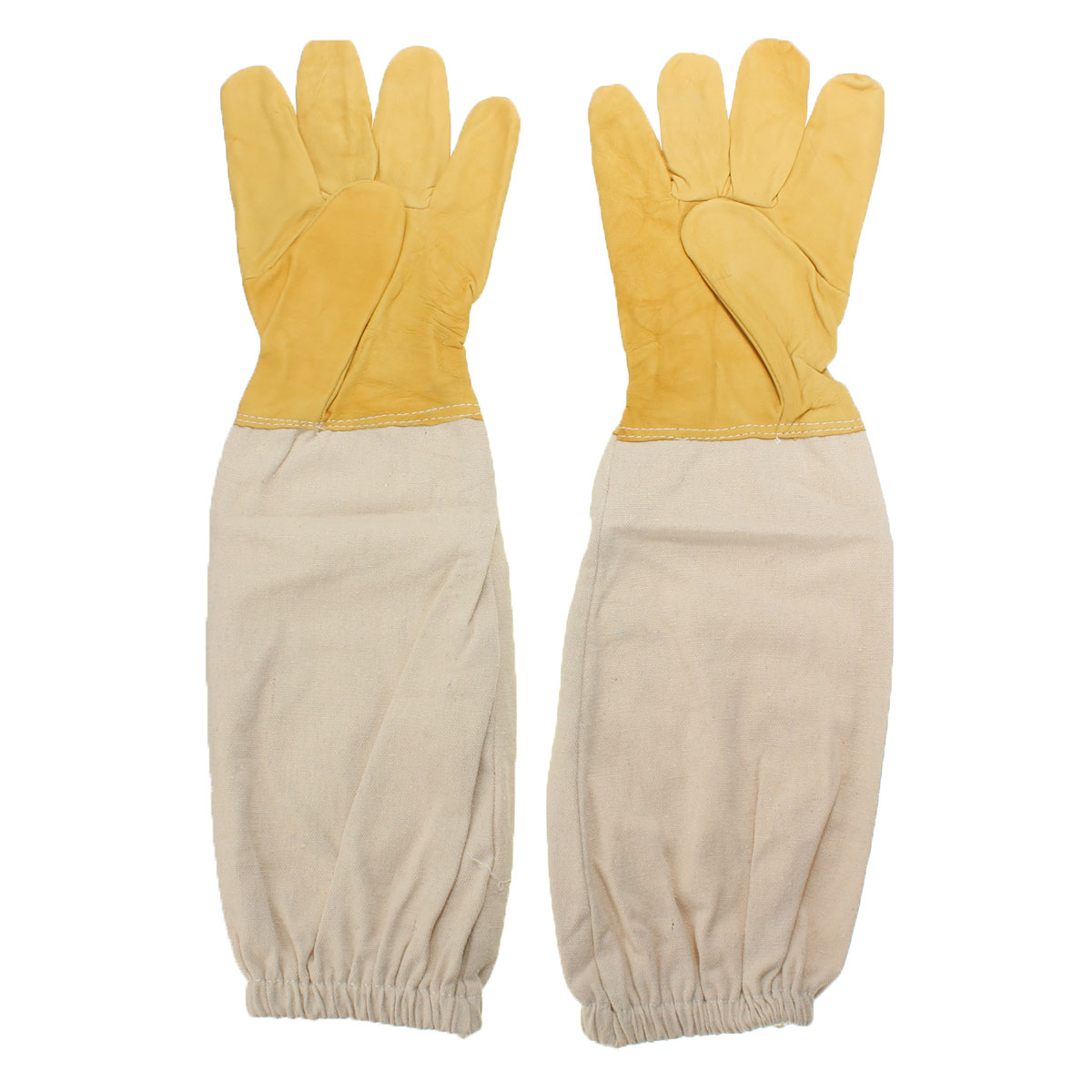 Yellow and white Pair Beekeeping Goatskin Cape Gloves XXL Sheepskin W/ Vented Long Sleeves Guard New угловая шлифмашина prorab 9216 slim page 2