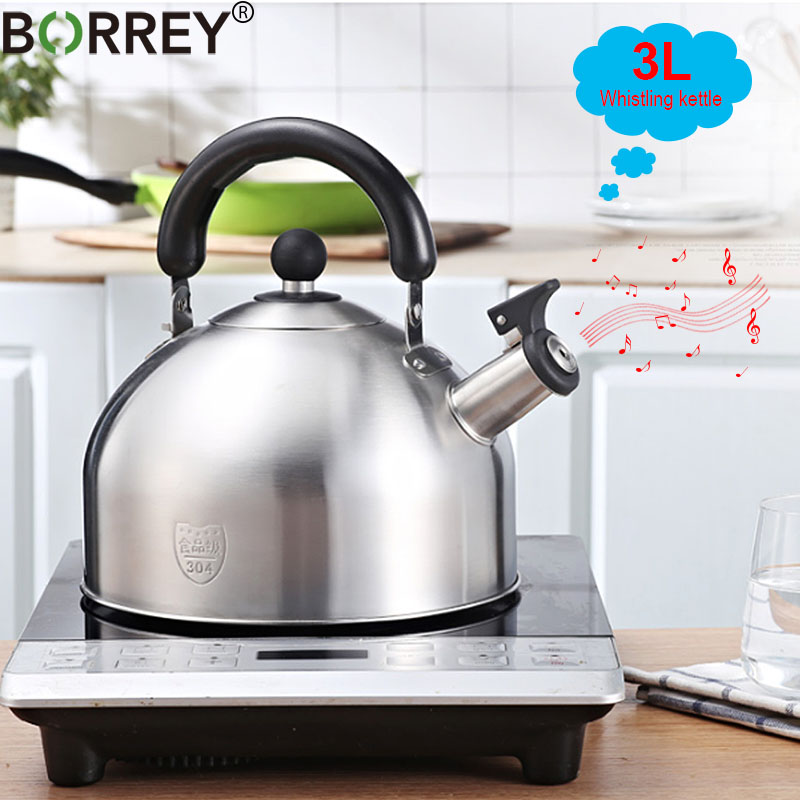 BORREY 3L Stainless Steel Induction Cooker Kettle Whistling Metal Kettle Camping Cooking Kettle Pot Kitchen Gas Stove Water Pot