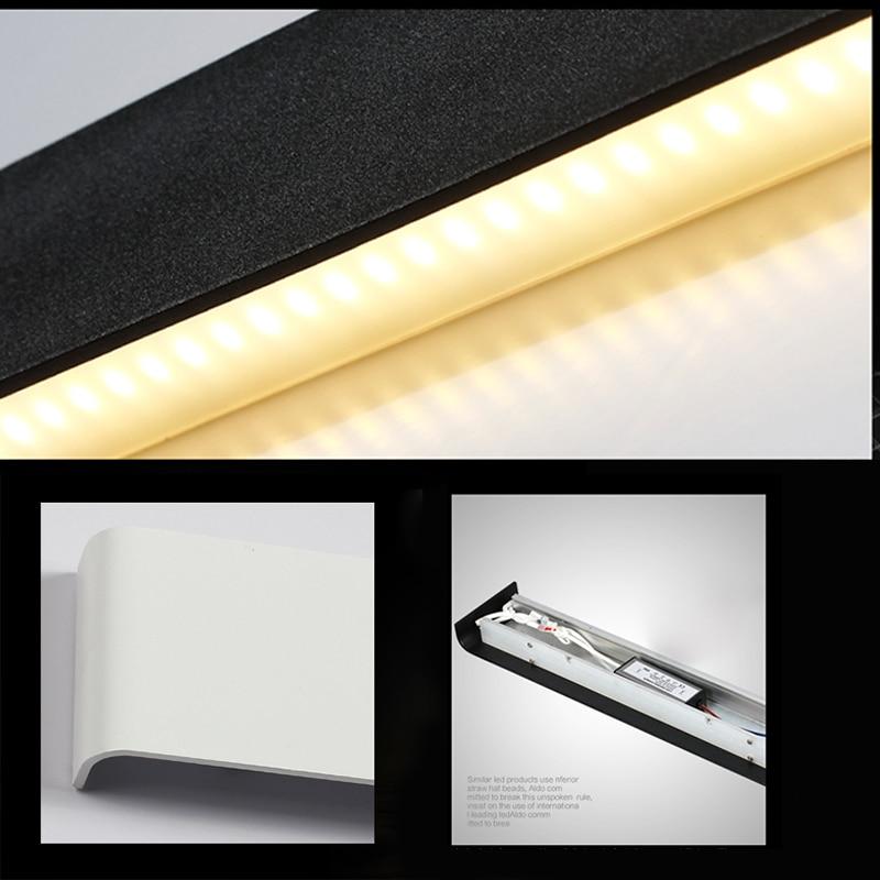 Купить с кэшбэком Aluminum LED Bar Lights Wall Mounted in Bathroom 24W 72cm 100-240V Decoration White / Black Sconces Wall Lights Indoor lighting