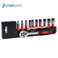 Mainpoint 12Pcs Ratchet Wrench Socket Spanner Set 1 4 Drive Chrome Alloy CR V Steel