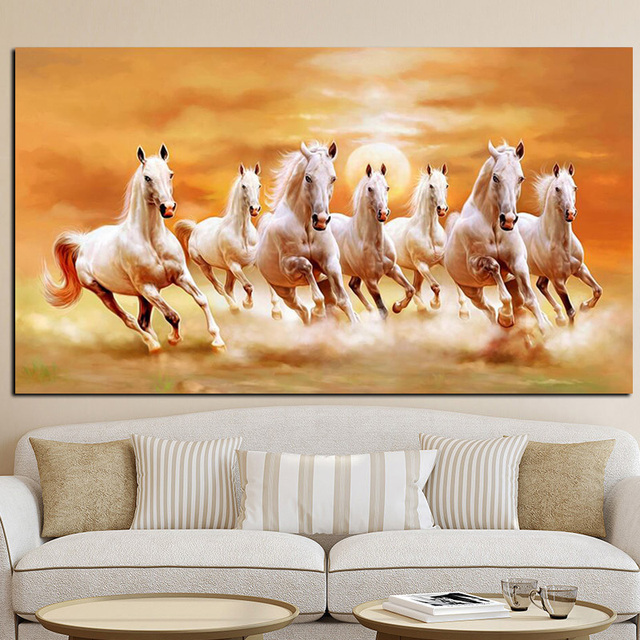 Seven Running White Horse Animals Painting Artistic Canvas Art Gold