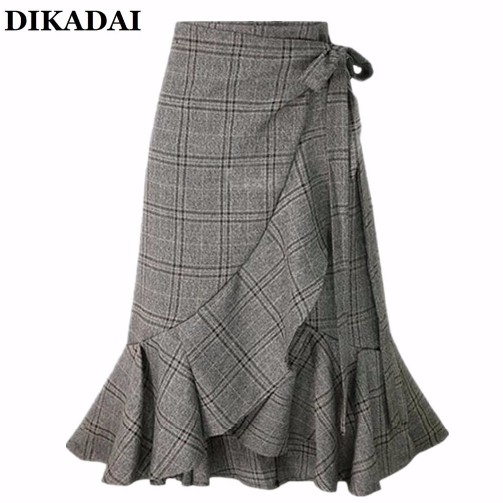 Women plaid Wrap Ruffle skirt Casual Knee Length skirt with bow tie elegant 2018 Summer Party wear Onesize Jupe femme Clothing