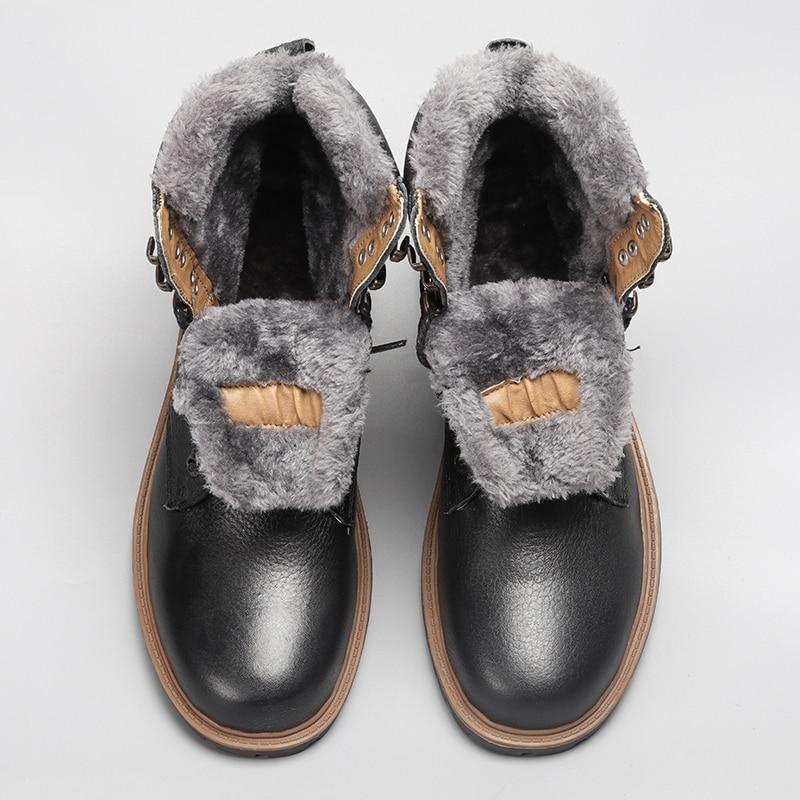 Top Quality Men Snow Boots 2018 Winter Genuine Leather Handmade Brand Warmest Men Winter Shoes #BG1568 warmest genuine leather snow boots size 37 50 brand russian style men winter shoes 8815