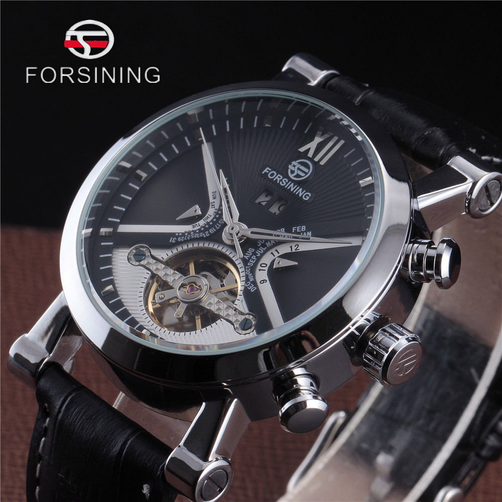 где купить FORSINING Calendar Dial Genuine Leather Strap Automatic Watch Skeleton Men Luxury Tourbillon Mechanical Watches Montre Homme по лучшей цене
