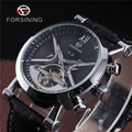 FORSINING Calendar Dial Genuine Leather Strap Automatic Watch Skeleton Men Luxury Tourbillon Mechanical Watches Montre Homme