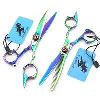 Freelander Brand Japan 440c Green 5.5 inch Hair Scissors Thinning Scissor Cutting Barber Shears Makas Hairdressing Scissors