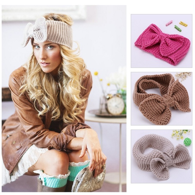1pc Womens Crochet Bow Headband Ear Warmer Knit Headbands Retro Bow