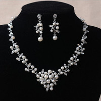 2017 Luxury Leaf Shape Pearls Bridal Jewelry Sets Silver Necklace Earrings Set For Women Wedding Accessories