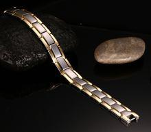 Модный магнитный браслет из титановой стали золотого цвета мужские