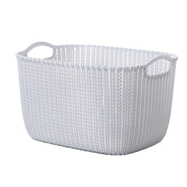 2017 New Plastic Weaving Rattan Basket Multifunctional Bathroom Shower Storage  Basket Debris Storage Organizer With Handle