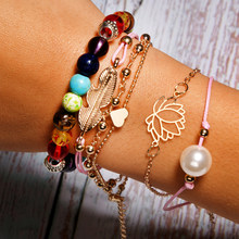 MOON GIRL 7 Chakra Beaded Stretchy Lotus Bracelet Fashion Simulated Pearl Leaf Chic Girls Friendship Charm Bracelet Set Dropship(China)