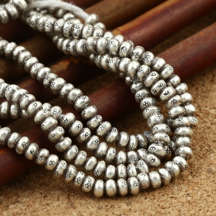Handmade Thai Silver Beads Real Sterling Silver Small Jewelry Beads Thailand 925 Silver Jewelry Spacers Tassel Beads