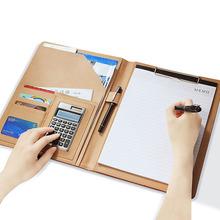 PU Leather File Folder Binder A4 Notebook with Calculator Office Manager Document Pouch Filing Organizer Products Portfolio Bag a4 document folder pu leather zipped ring binder conference bag business briefcase office school supply with calculator notebook