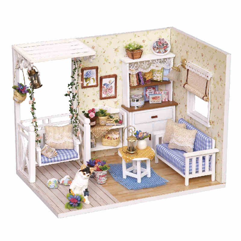 Doll house furniture diy miniature dust cover 3d wooden for Homemade miniature furniture