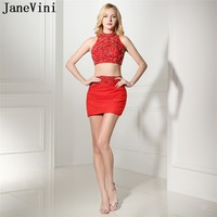 JaneVini Sexy Red A Line Two Pieces Cocktail Dress Short High Neck Heavy Beaded Backless Chiffon Mini Cocktail Dresses Plus Size