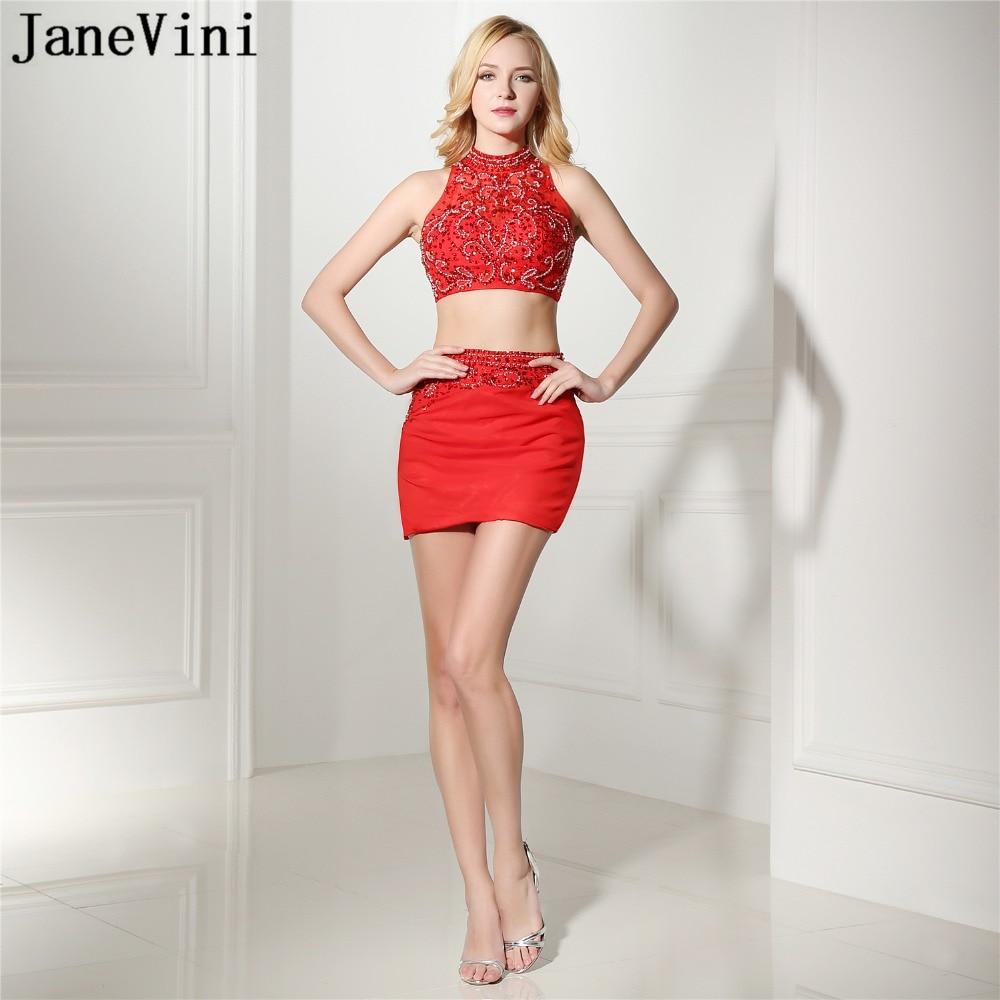 JaneVini Sexy rouge une ligne deux pièces robe de Cocktail courte col haut lourd perlé dos nu en mousseline de soie Mini Cocktail robes de grande taille