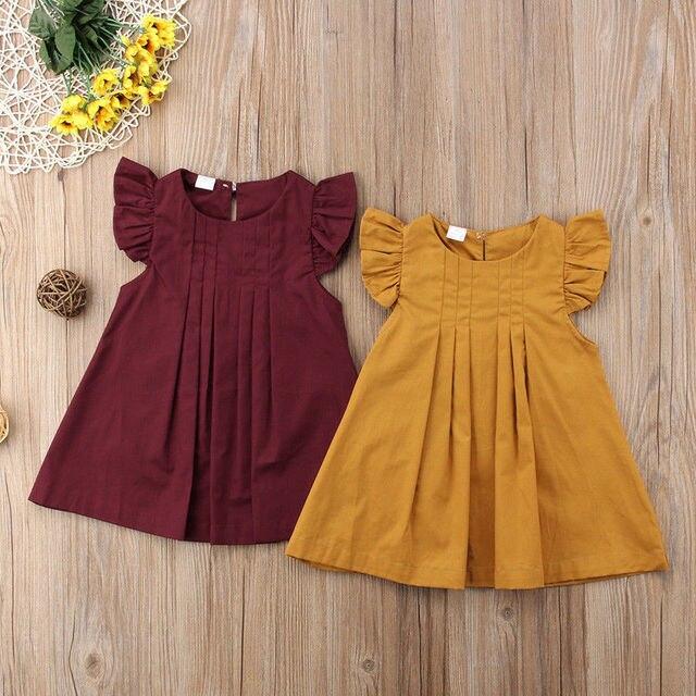 תינוק בנות הקיץ חם 2018 מכירה חדשה שני צבעים טוס מוצק שרוול קצר שמלות נסיכת בציר 0-3Y