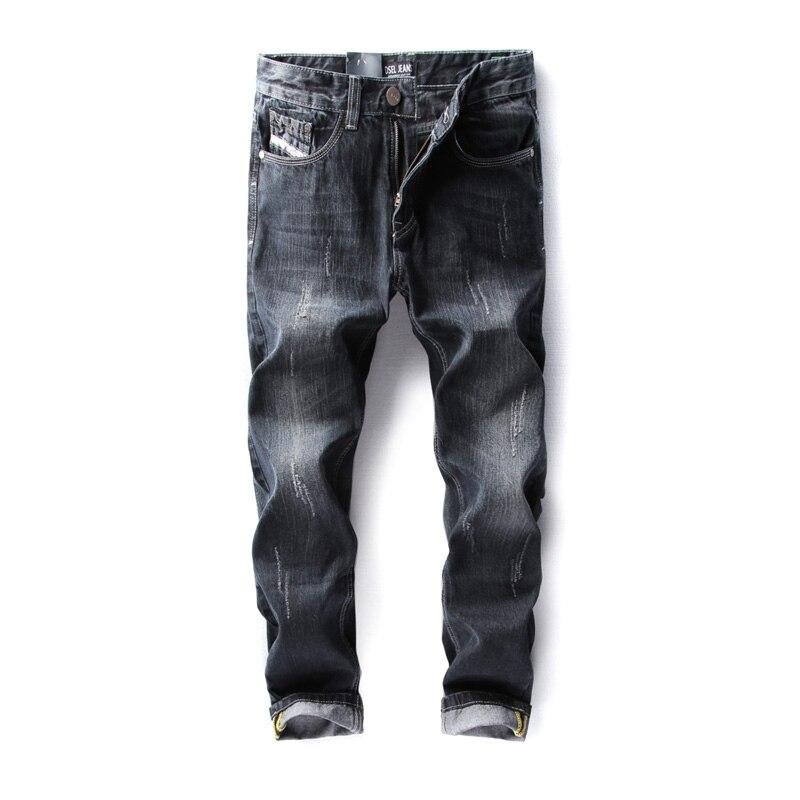 2017  Dsel Brand Black Color Men Jeans Original Ripped Jeans Men Distressed Destroyed Biker Jeans Denim Pants,Skinny Jeans Men! 2017 new original high quality dsel brand men jeans straight fit distressed ripped jeans for men dsel brand jeans home 604 a