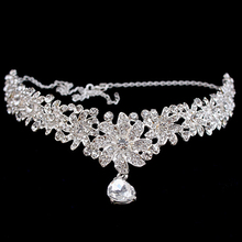 Фотография Silver Wedding Hair Accessories Forehead Hair Jewelry Crystal Rhinestone Hair Head Chain Flower Communion Headpieces For Women
