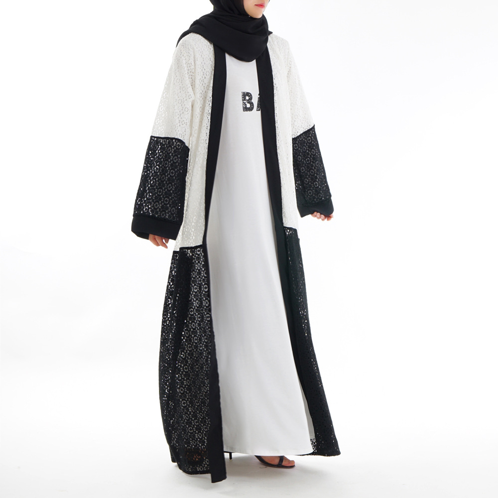 Arab high-end fashion Muslim Muslim three-dimensional lace body robe wish a cross-border exclusive supply
