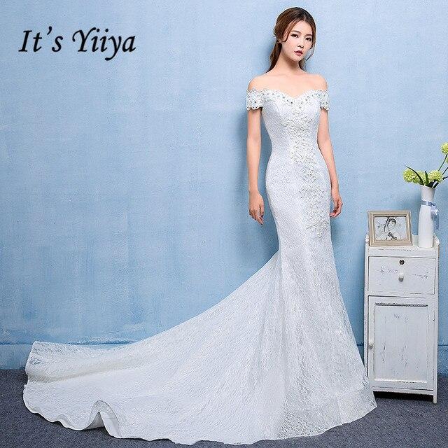 It\'s Yiiya 2017 Lace Boat Neck Trailing Wedding Dresses Mermaid ...