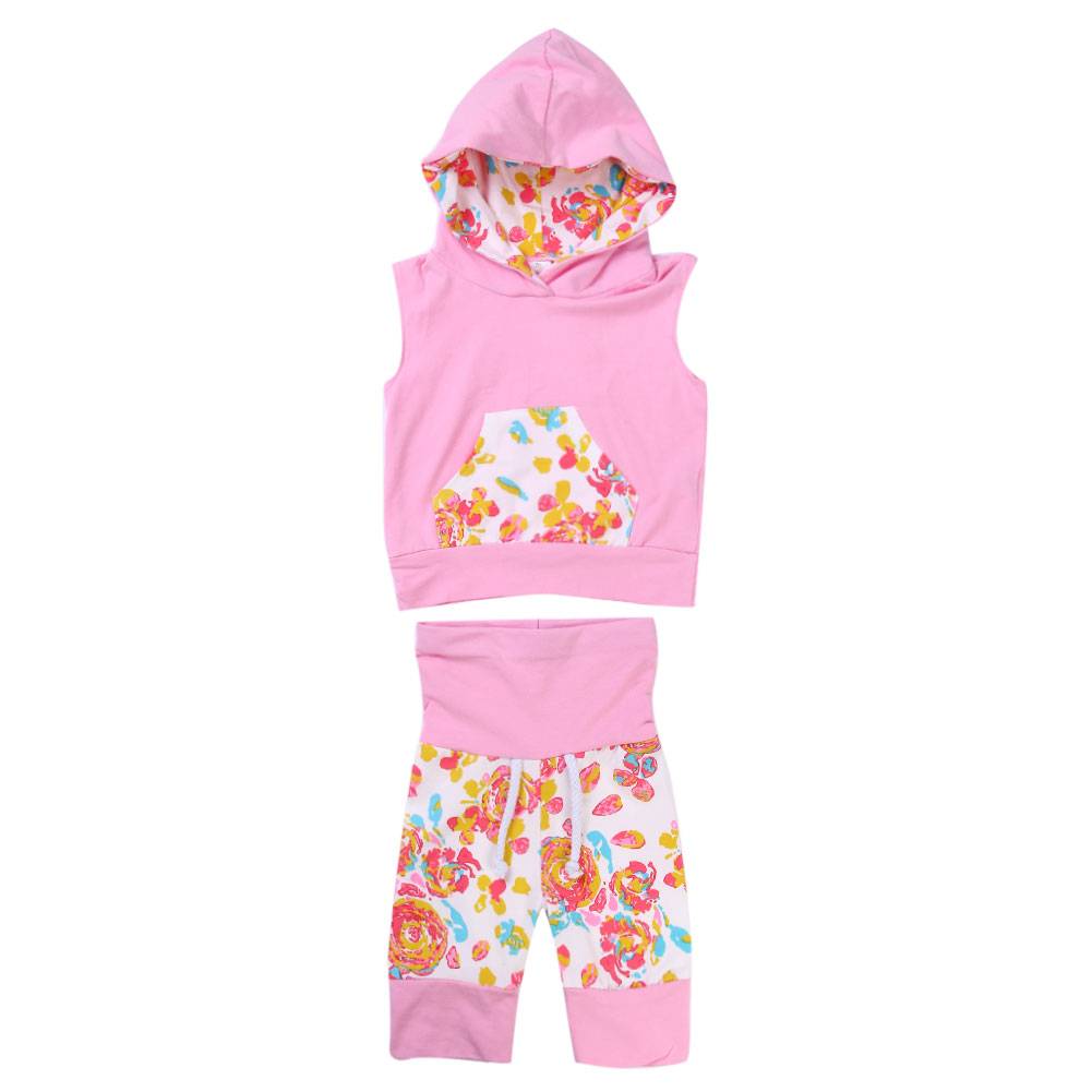 New 2017 Girl Clothing Newborn Girl Print Trousers Hoodie Flower Printed Cotton blend Baby Girl Clothes High Quality Babys Set