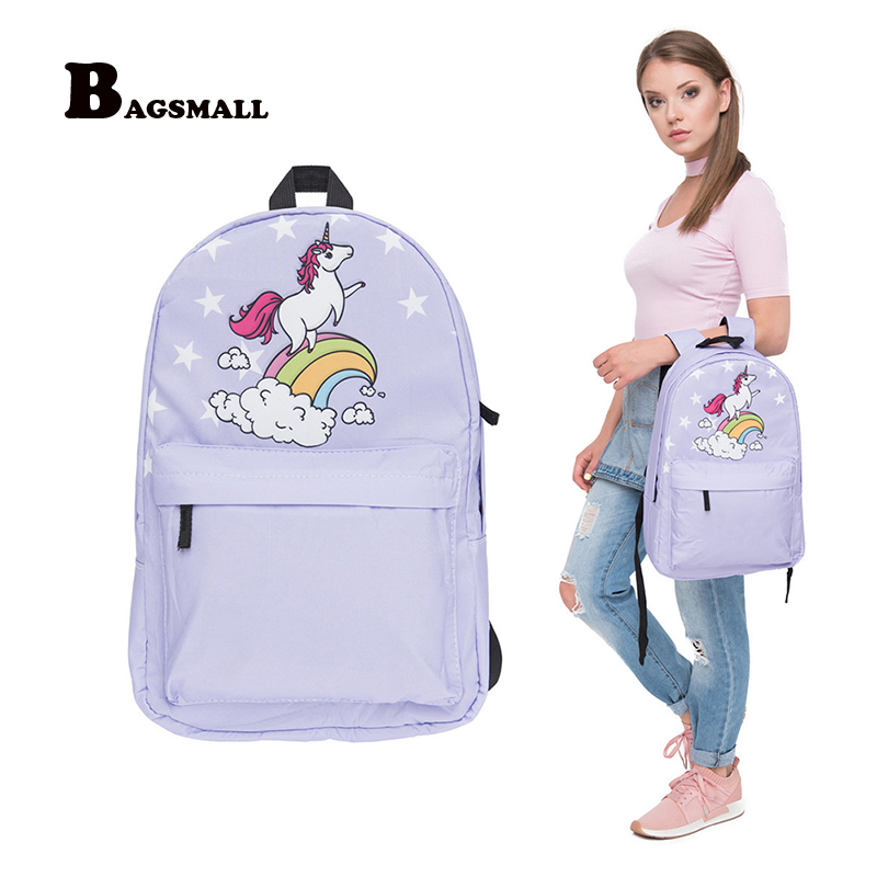 BAGSMALL Designer Backpacks for Girls School Bag for Teenager Unicorn Printed Backpack Female Canvas Preppy Schoolbag Women Bag 2pcs set preppy style canvas backpack women letter printing backpacks school bags for teenager girls schoolbag female travel bag